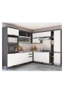 Cozinha Completa Hibisco 14 Pt 3 Gv Branca E Grafite