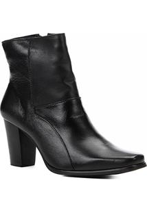 Bota Couro Shoestock Básica Salto Médio Feminina - Feminino-Preto