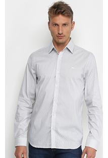 Camisa Lacoste Bordado Masculino - Masculino-Cinza+Branco