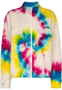 The Elder Statesman Tie Dye Sherpa Cotton Jacket - Branco