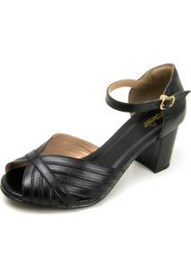 Sandália Retrô Peep Toe Touro Boots Feminina Preta - Kanui