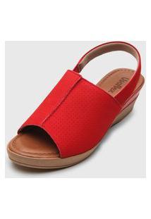 Sandália Usaflex Anabela Vermelha