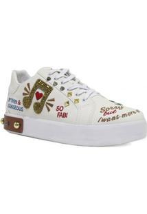 cc1fbff62ad Tenis Zariff Shoes Nota Musical Bordado Feminino - Feminino-Branco+Bege