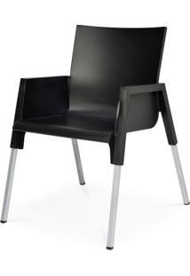 Cadeira Milao Em Polipropileno Preto Com Pes Aluminio - 48007 - Sun House