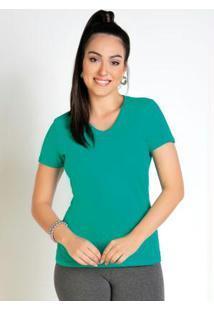 Blusa Feminina Verde Baby Look Com Decote V