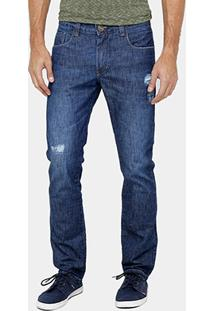 Calça Jeans Reta Dardak Estonada Puídos Masculina - Masculino