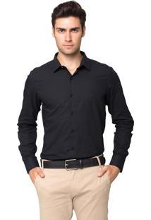 Camisa Social Tony Menswear Slim Fit Maniquetada Preta