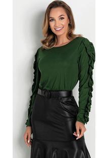 Blusa Verde Com Babado Moda Evangélica
