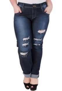 Calça Confidencial Extra Plus Size Jeans Estonada Feminina - Feminino-Azul Escuro
