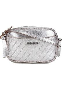 Bolsa Anacapri Mini Bag Eco Craquelure Feminina - Feminino-Prata