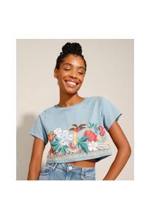 Camiseta Cropped De Algodão Floral Manga Curta Decote Redondo Azul