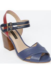 Sandália Tradicional Em Couro- Azul Escuro & Vermelha