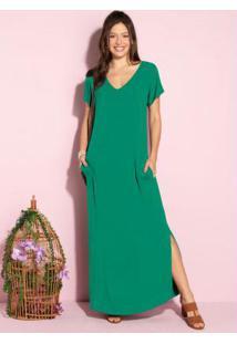 Vestido Longo Soltinho Com Fenda Verde Bandeira