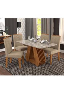 Conjunto De Mesa De Jantar Ágata Com Vidro E 4 Cadeiras Nicole Suede Off White E Marrom Claro
