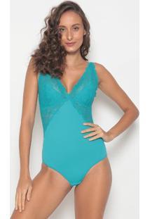 Body Com Renda - Azul Claro - Bonjourbonjour