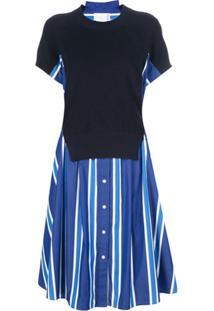 Sacai Contrast Mid-Length Dress - Azul