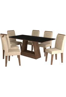 Conjunto De 6 Cadeiras Para Sala De Jantar 180X90 Alana/Tais-Cimol - Marrocos / Sued Bege