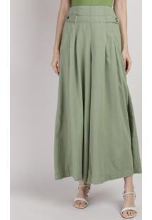 Calça Feminina Mindset Pantalona Cintura Super Alta Com Bolsos E Martingale Verde