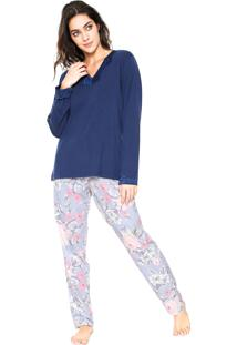 Pijama Pzama Floral Azul/Rosa