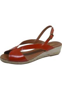 Sandália Anabela S2 Shoes Couro Coral
