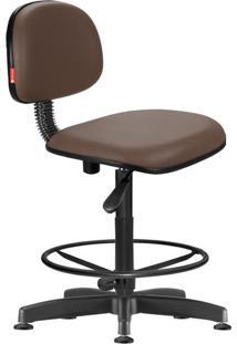 Cadeira Caixa Alta Secretária Giratória Courvin Marrom Café