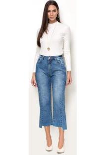 Calça Jeans Zait Cropped Reta Marina Feminina - Feminino