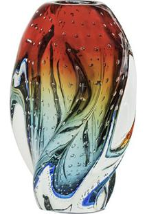 Vaso Com Torção- Azul & Vermelho- 24Xø13Cm- Criscristais São Marcos