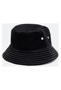 Chapéu Feminino Bucket Liso Em Algodão Com Pesponto Contrastante | Accessories | Preto | U