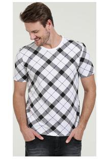 Camiseta Masculina Estampa Xadrez Manga Curta Marisa