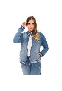 Jaqueta Jeans Forrada Bomber