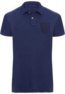 Camisa Polo Masculina Stone Brasão - Azul