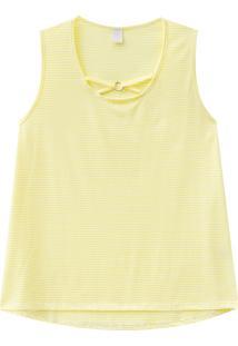 Blusa Lecimar Plus Em Meia Malha Alto Verão Listrada G3 Amarelo