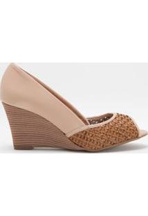 Sapato Feminino Anabela Em Tressê Vizzano