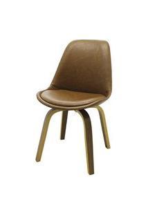 Cadeira Lis Eames Revestida Pu Marrom Base Madeira Mescla - 51147 Preto