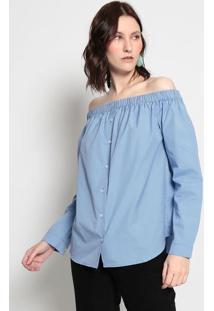 Blusa Ciganinha Listrada- Azul & Brancaeva