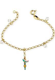 Pulseira Infantil Folheada Ania Store Pearl Miroir Dourada