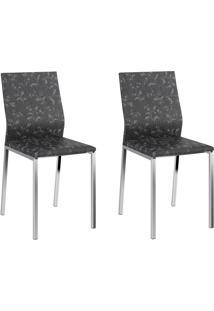 Kit 2 Cadeiras 1804 Fantasia Preto/Cromado - Carraro Móveis