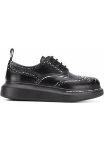 Alexander Mcqueen Sapato Brogue Com Plataforma - Preto