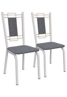 Kit 2 Cadeiras Florença Branco Fosco E Preto Linho Cinza 2C078Bfr-17 Kappesberg