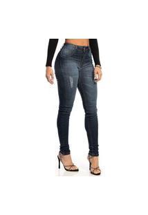 Calça Jeans Biotipo Skinny Puídos Azul