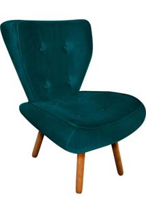 Poltrona Decorativa Tathy Suede Azul Pavão Pés Palito - D'Rossi