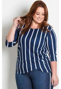 Blusa Assimétrica Plus Size Listrada