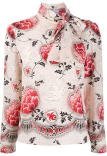 Redvalentino Blusa Com Estampa Floral E Amarração Na Gola - Neutro