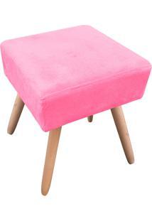 Puff Decorativo Ibiza Quadrado Suede Rosa Barbie D'Rossi