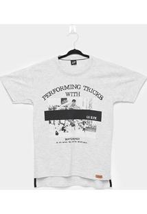 Camiseta Infantil Elian Skateboard Alongada Masculina - Masculino-Cinza