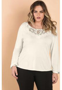 Blusa Viscotorcion Feminina Secret Glam Bege