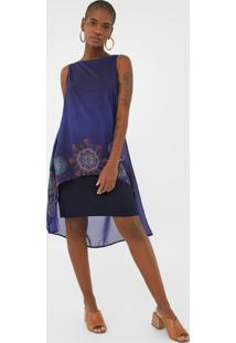 Vestido Desigual Curto Sabrinnne Azul-Marinho