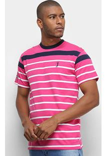 Camiseta Aleatory Fio Tinto Listras Masculina - Masculino-Pink+Marinho