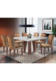 Conjunto De Mesa Para Sala De Jantar Quadrada Com 8 Cadeiras Helena/Athenas-Rufato - Animalle Chocolate / Off White / Café