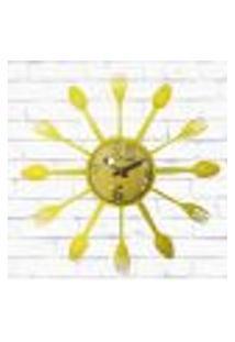 Relógio De Parede Cozinha Decorativo Talheres Amarelo 15X15